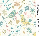 seamless floral with birds... | Shutterstock .eps vector #137300906