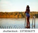 swimmer girl in swimsuit have... | Shutterstock . vector #1373036375