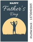 silhouette of father and son on ... | Shutterstock .eps vector #1373040305
