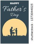 silhouette of father and son on ... | Shutterstock .eps vector #1373044025