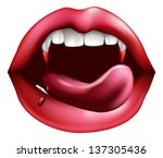 drawing of a vampire mouth... | Shutterstock .eps vector #137305436