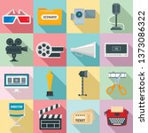 film production icons set. flat ... | Shutterstock .eps vector #1373086322