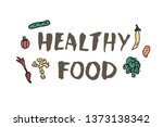 healthy food concept with... | Shutterstock .eps vector #1373138342