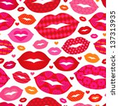 seamless hot love lips... | Shutterstock .eps vector #137313935