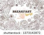 breakfast food and good morning ... | Shutterstock .eps vector #1373142872