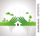 eco friendly hand concept | Shutterstock .eps vector #137315372