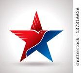 American Flag And Eagle Symbo...