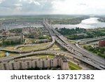 ST-PETERSBURG, RUSSIA - JULY 19: Road interchange Ring Road and Avenue Obukhovskoy Oborony, before the bridge Bolshoi Obuhovsky, July 19, 2007. The bridge is under construction the second part. - stock photo