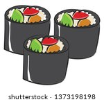 cartoon pale brown color sushi... | Shutterstock .eps vector #1373198198