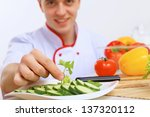 young cook preparing food from... | Shutterstock . vector #137320112