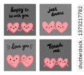 set of four cards with couples... | Shutterstock .eps vector #1373217782