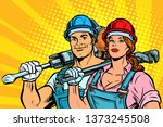 strong workers  man and woman.... | Shutterstock . vector #1373245508