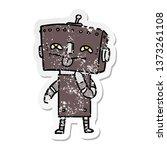 distressed sticker of a cartoon ... | Shutterstock . vector #1373261108