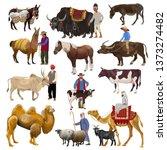 Set Of Farm Animals With...
