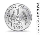 indian one quarter rupee coin...   Shutterstock .eps vector #1373275082
