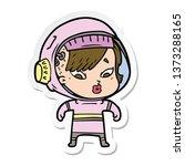 sticker of a cartoon astronaut...   Shutterstock . vector #1373288165
