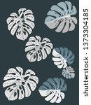 vector tropical pattern with... | Shutterstock .eps vector #1373304185