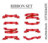 red ribbons set. vector design... | Shutterstock .eps vector #1373326655