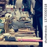 flea market booth with many old ... | Shutterstock . vector #1373330318