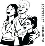 praying women vector black | Shutterstock .eps vector #1373331905
