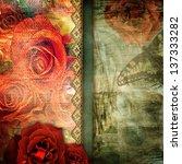 romantic retro grunge... | Shutterstock . vector #137333282