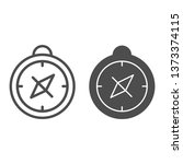 compass line and glyph icon.... | Shutterstock .eps vector #1373374115