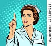 woman nurse attention gesture....   Shutterstock . vector #1373384315