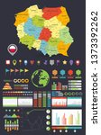 Poland map and Infographics design elements. Colorful design. Dark background. Business template in flat style for presentation, booklet, website and other creative projects.