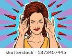 woman headache  medical symptom ... | Shutterstock . vector #1373407445
