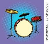 drum set musical instrument.... | Shutterstock . vector #1373410778