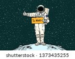 astronaut hitch rides on mars.... | Shutterstock . vector #1373435255