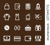 Shopping Icons with Brown Background - stock vector