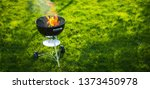 barbecue grill in the open air. ... | Shutterstock . vector #1373450978