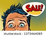 sales man eyes close up  panic... | Shutterstock . vector #1373464085