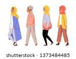 muslim women walking in line.... | Shutterstock .eps vector #1373484485
