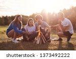 friends in meadow lit bonfire... | Shutterstock . vector #1373492222