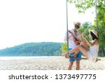 asian romantic couple is...   Shutterstock . vector #1373497775