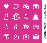 Wedding Icons and Love Icons with Pink Background - stock vector