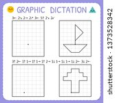 graphic dictation. kindergarten ... | Shutterstock .eps vector #1373528342