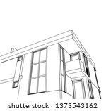 modern house architecture 3d... | Shutterstock .eps vector #1373543162