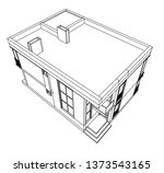 modern house architecture 3d... | Shutterstock .eps vector #1373543165