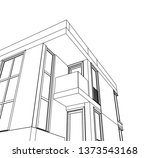 modern house architecture 3d... | Shutterstock .eps vector #1373543168