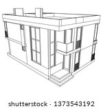 modern house architecture 3d... | Shutterstock .eps vector #1373543192