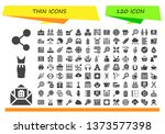 thin icon set. 120 filled thin... | Shutterstock .eps vector #1373577398