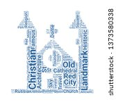 cathedral word cloud. tag cloud ... | Shutterstock .eps vector #1373580338
