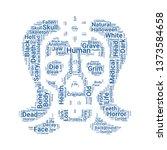 skull word cloud. tag cloud... | Shutterstock .eps vector #1373584658
