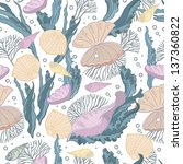 cute pattern with shells | Shutterstock .eps vector #137360822