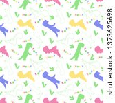 roar and chomp. dino pattern.... | Shutterstock .eps vector #1373625698