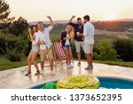 group of friends having fun at... | Shutterstock . vector #1373652395