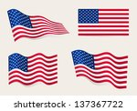 collection of american flags... | Shutterstock .eps vector #137367722